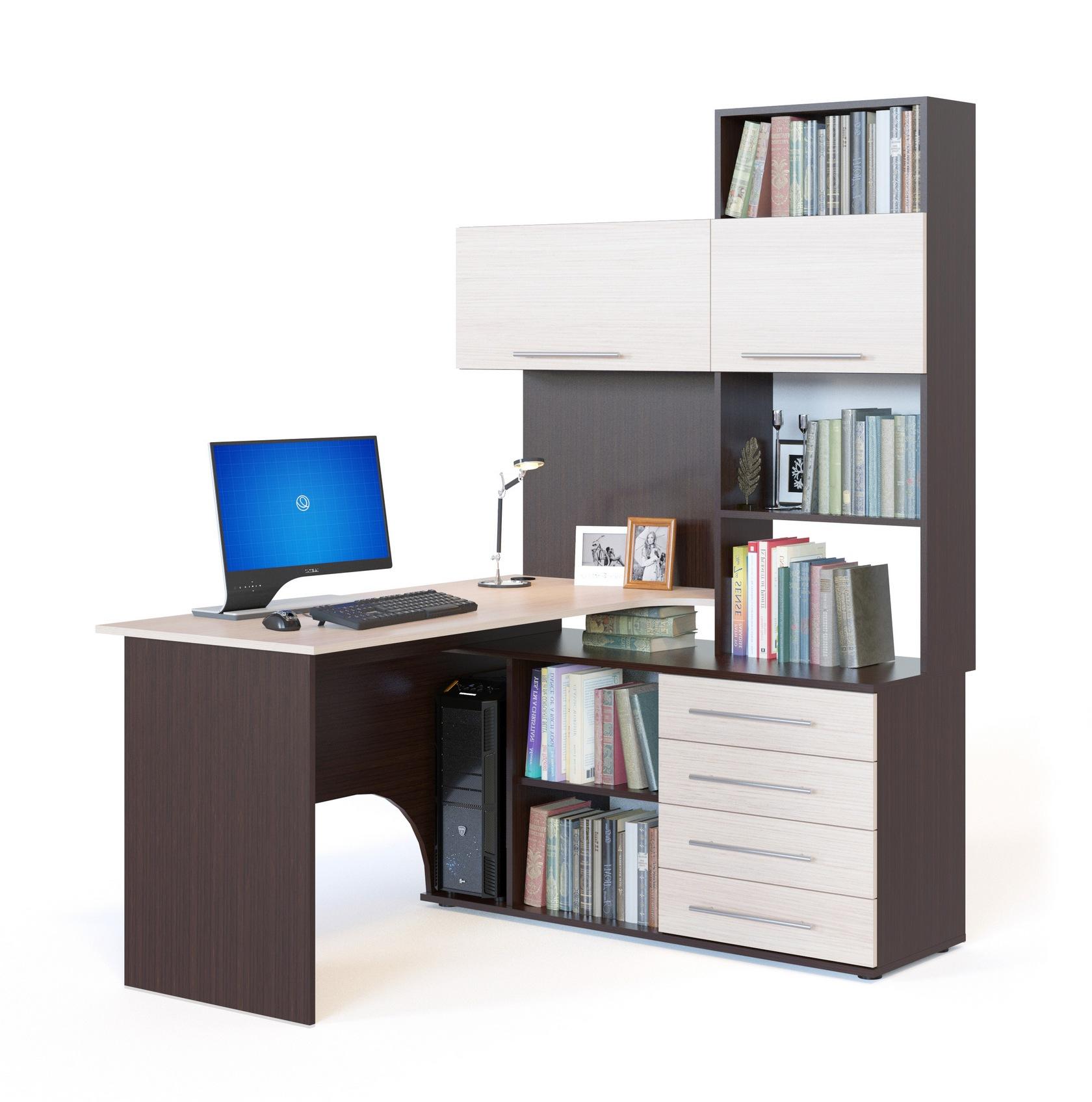 Письменный стол кст-14 с надстройкой, шкафами, тумбой и откр.
